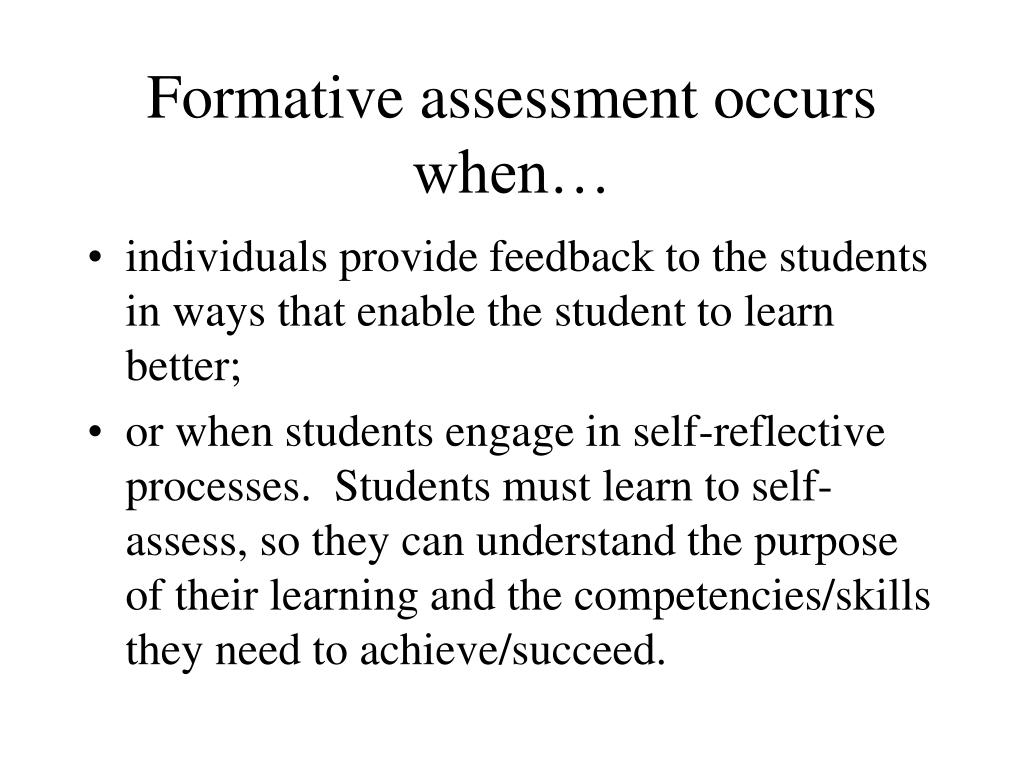 formative assessment occurs when l.