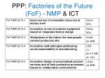 ppp factories of the future fof nmp ict