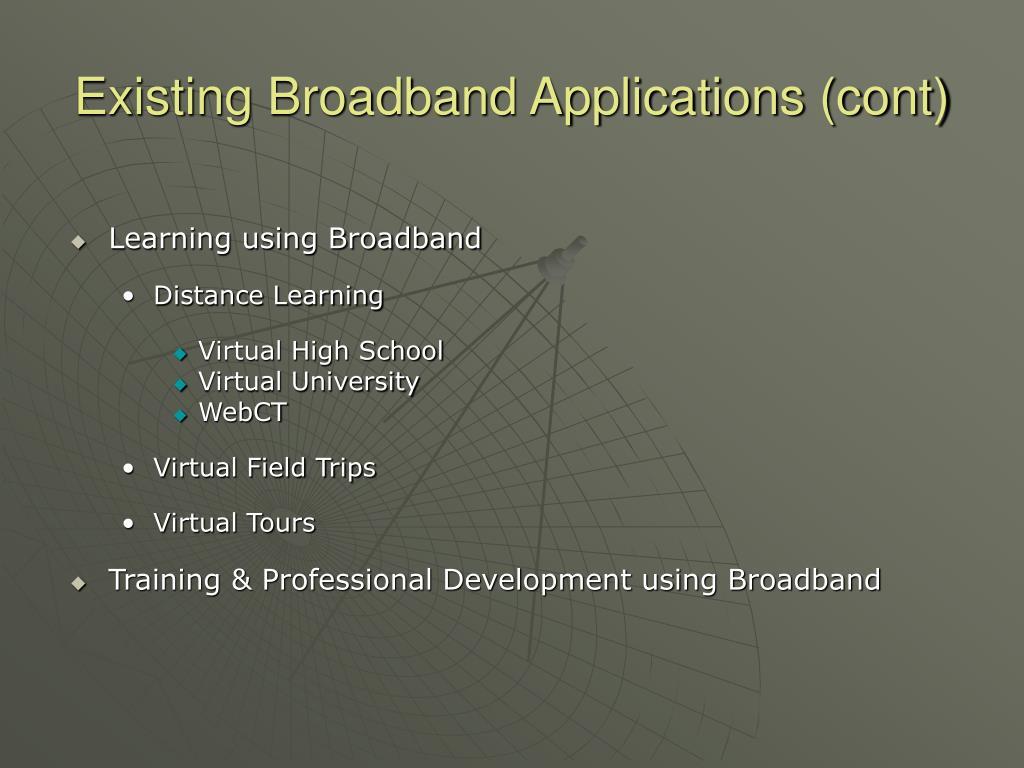 Existing Broadband Applications (cont)