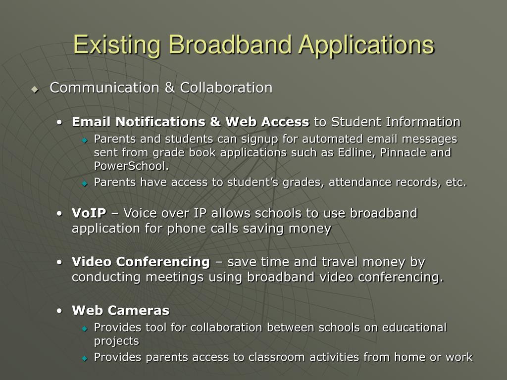 Existing Broadband Applications