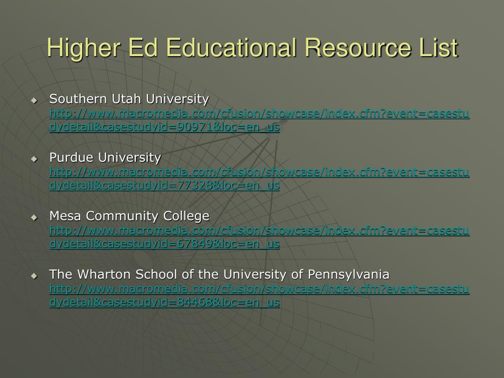 Higher Ed Educational Resource List