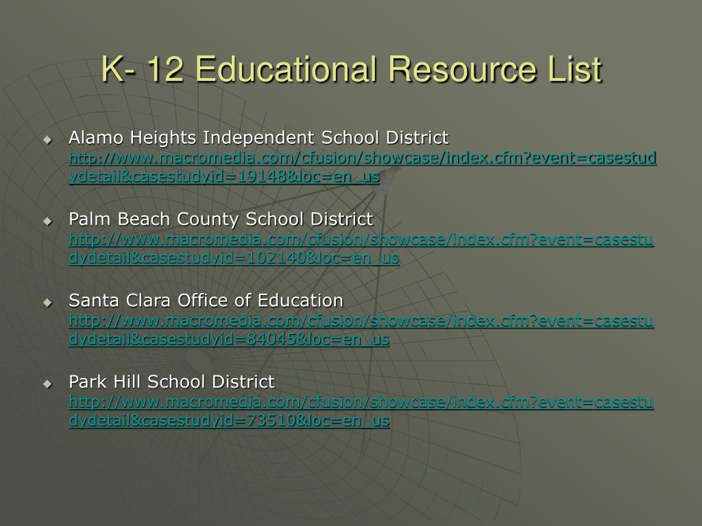 K- 12 Educational Resource List