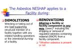 the asbestos neshap applies to a facility during
