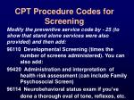 cpt procedure codes for screening