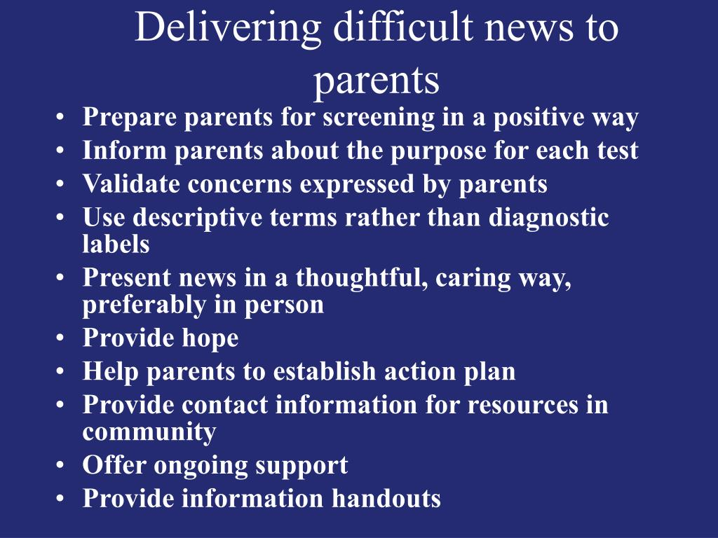 Delivering difficult news to parents