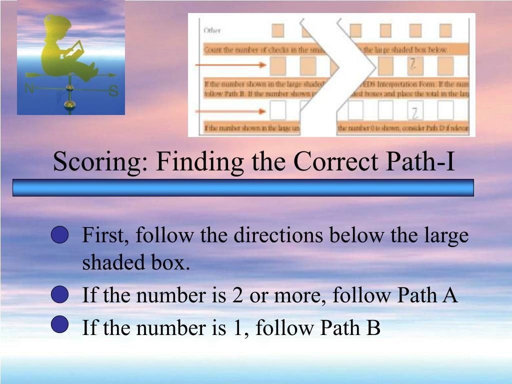 Scoring: Finding the Correct Path-I