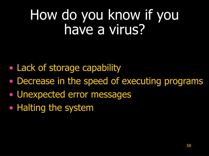 How do you know if you have a virus?