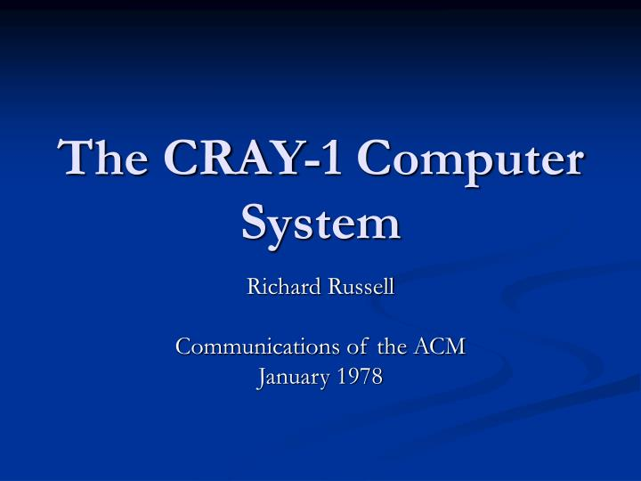 the cray 1 computer system n.