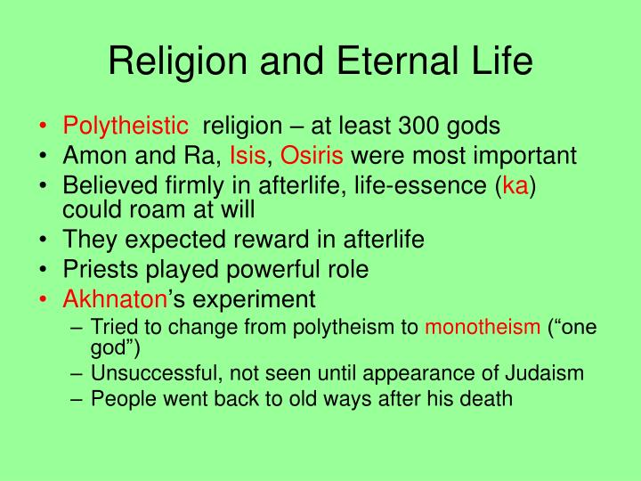 Religion and Eternal Life