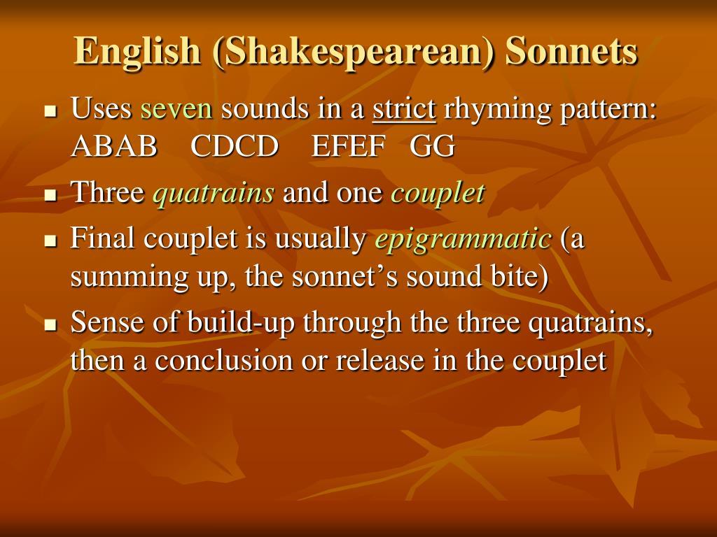 English (Shakespearean) Sonnets