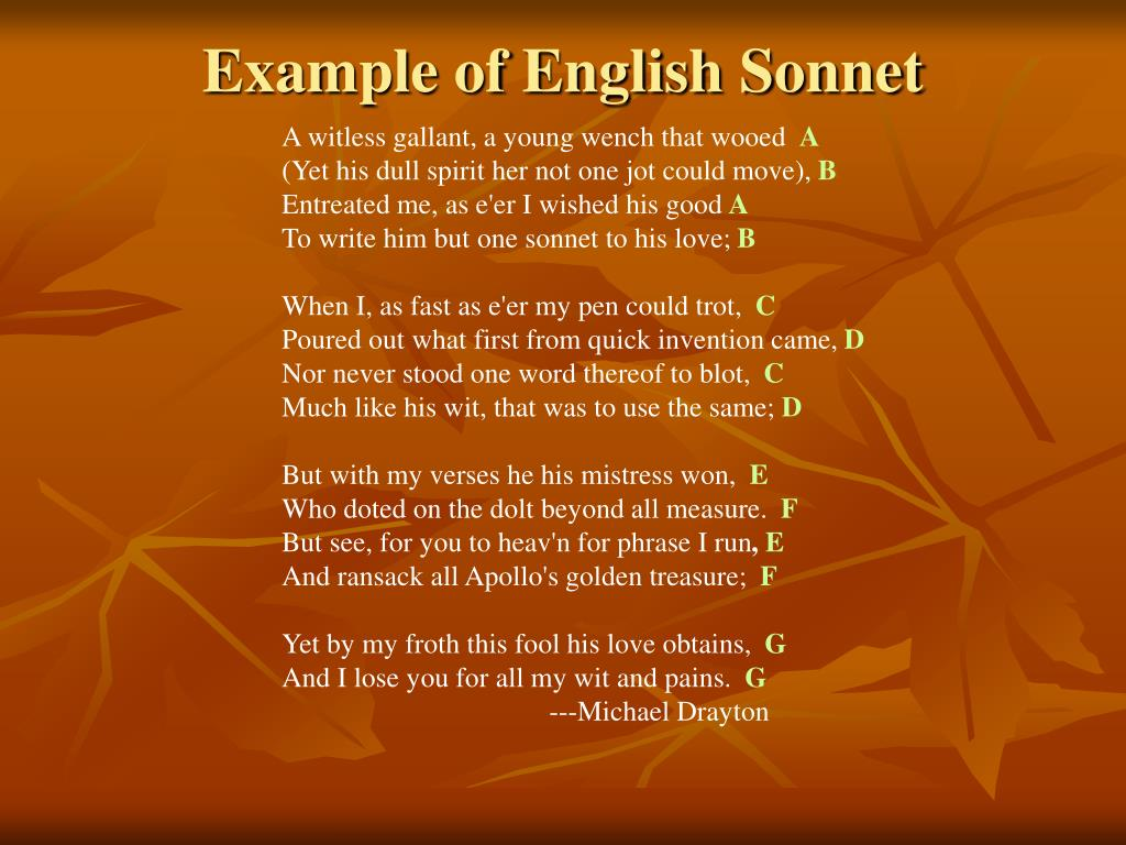 Example of English Sonnet