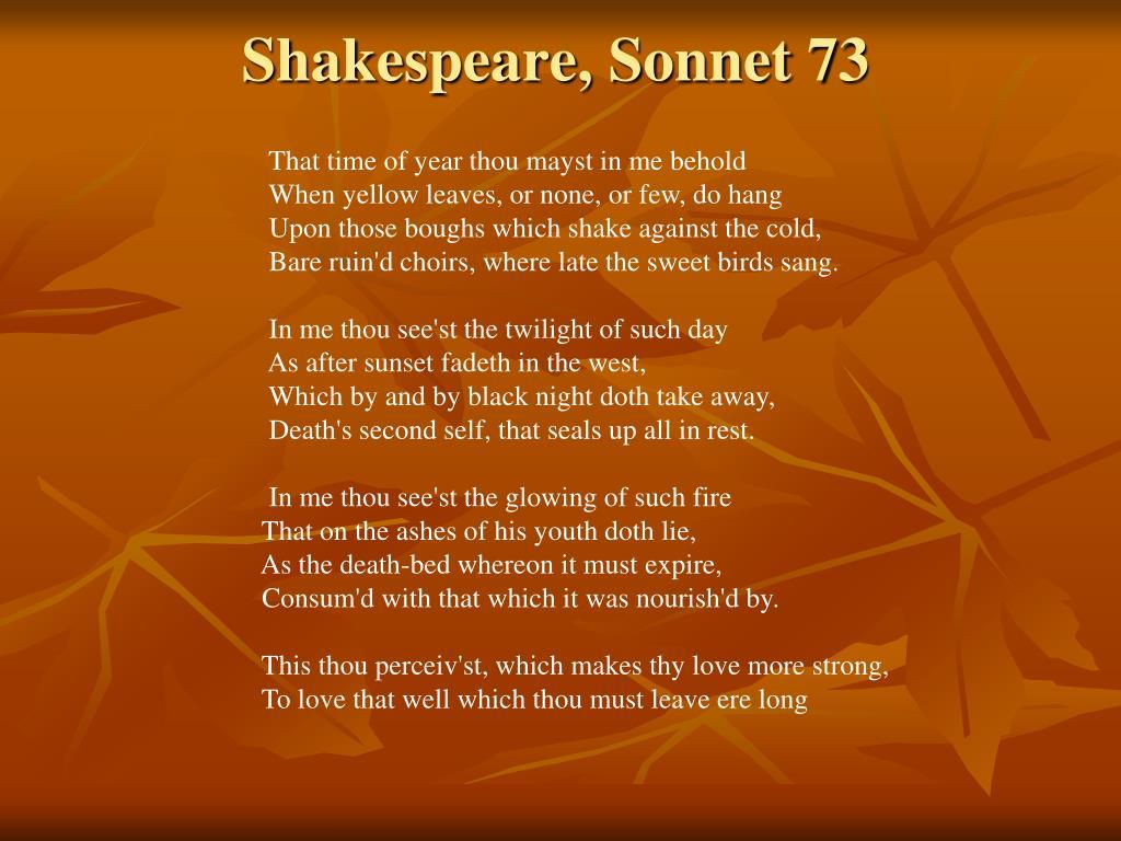 Shakespeare, Sonnet 73