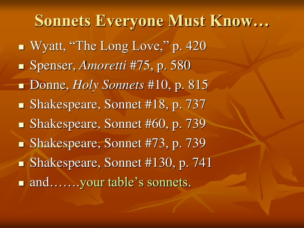 Sonnets Everyone Must Know…