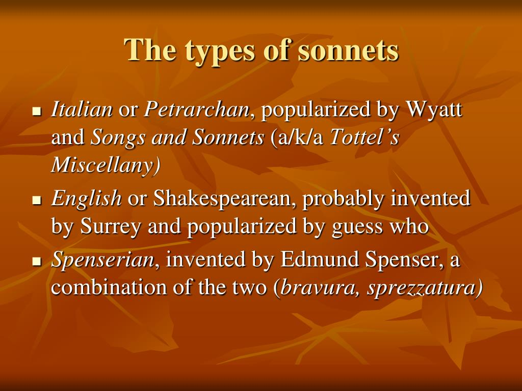 The types of sonnets