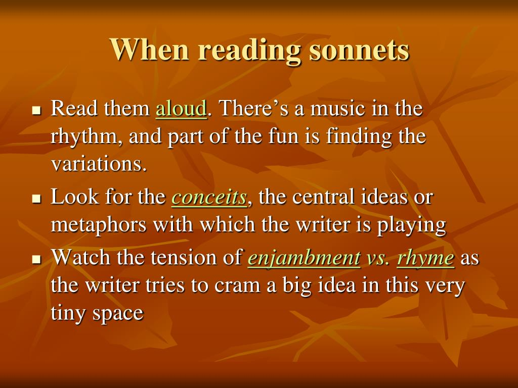 When reading sonnets