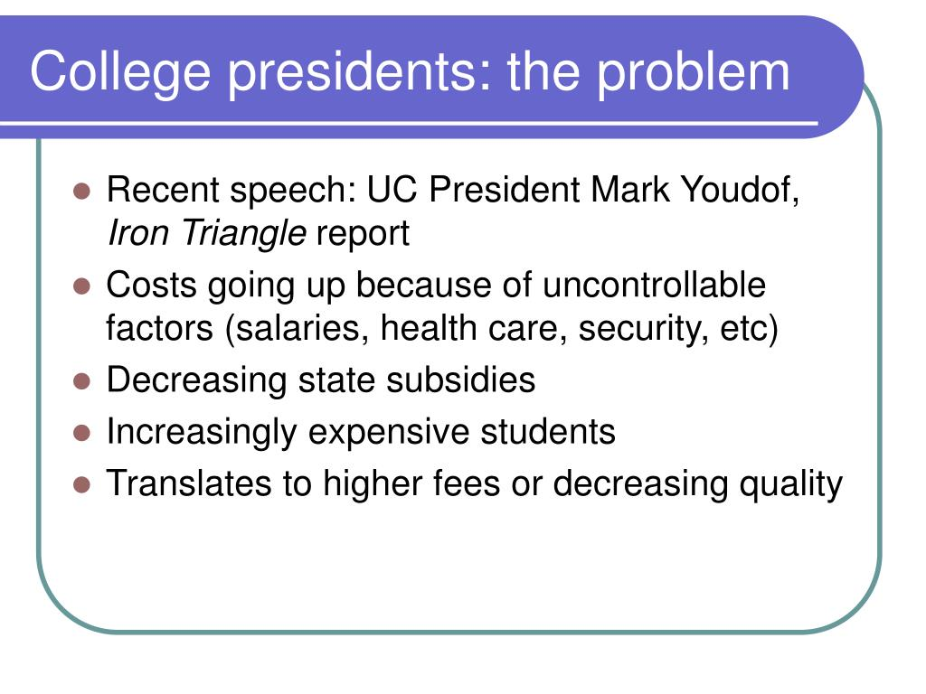 College presidents: the problem