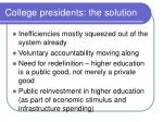 college presidents the solution