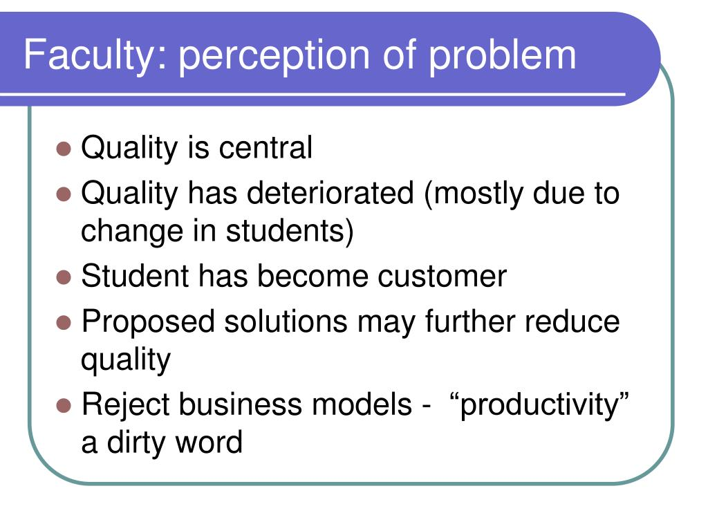 Faculty: perception of problem