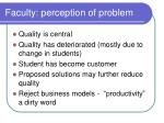faculty perception of problem