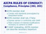 aicpa rules of conduct compliance principles 202 203