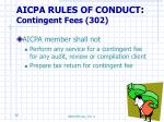 aicpa rules of conduct contingent fees 302