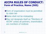 aicpa rules of conduct form of practice name 505