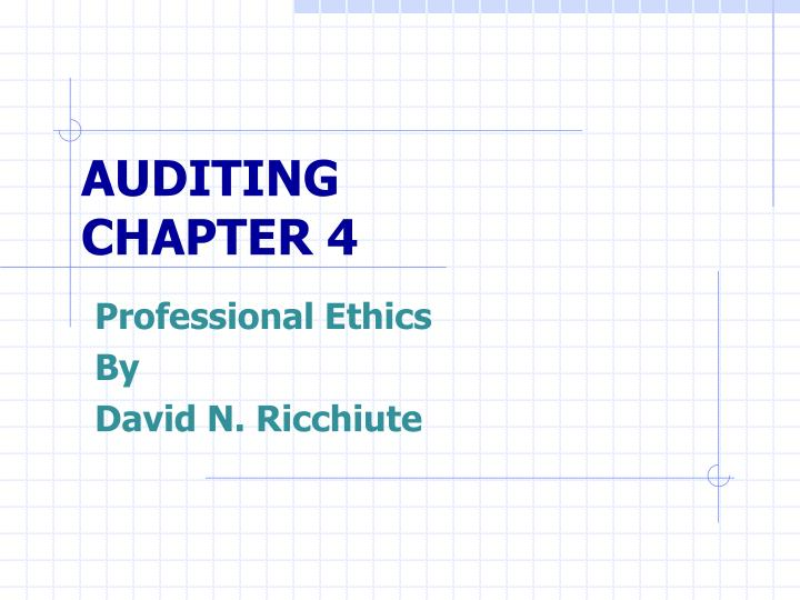 auditing chapter 4 n.
