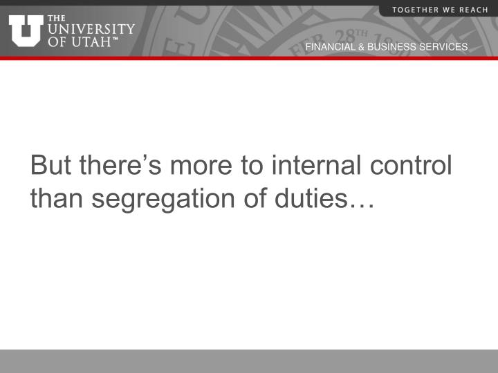 But there's more to internal control than segregation of duties…