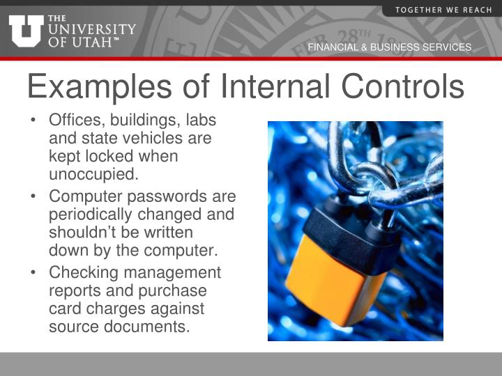 Examples of Internal Controls