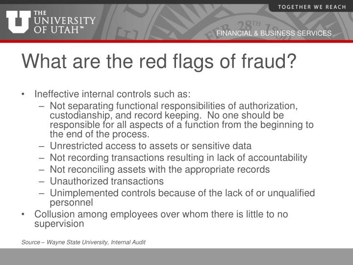 What are the red flags of fraud?