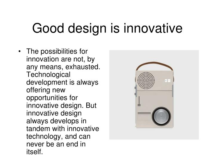 Good design is innovative