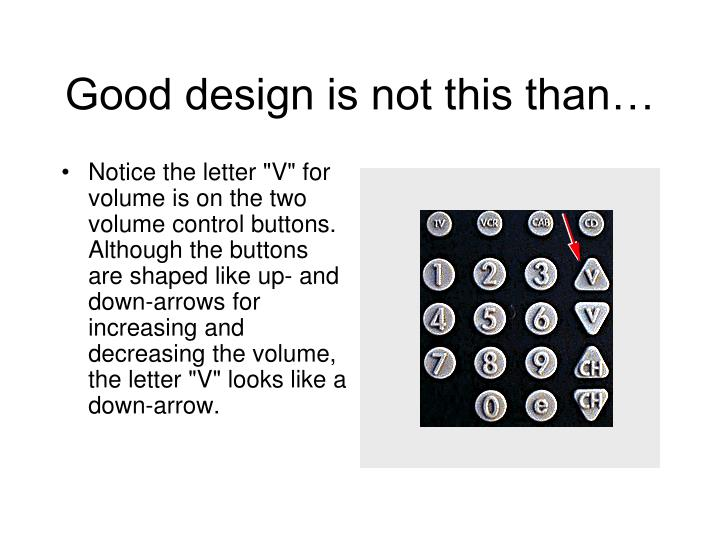 Good design is not this than…