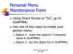 personal menu maintenance form