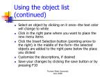 using the object list continued