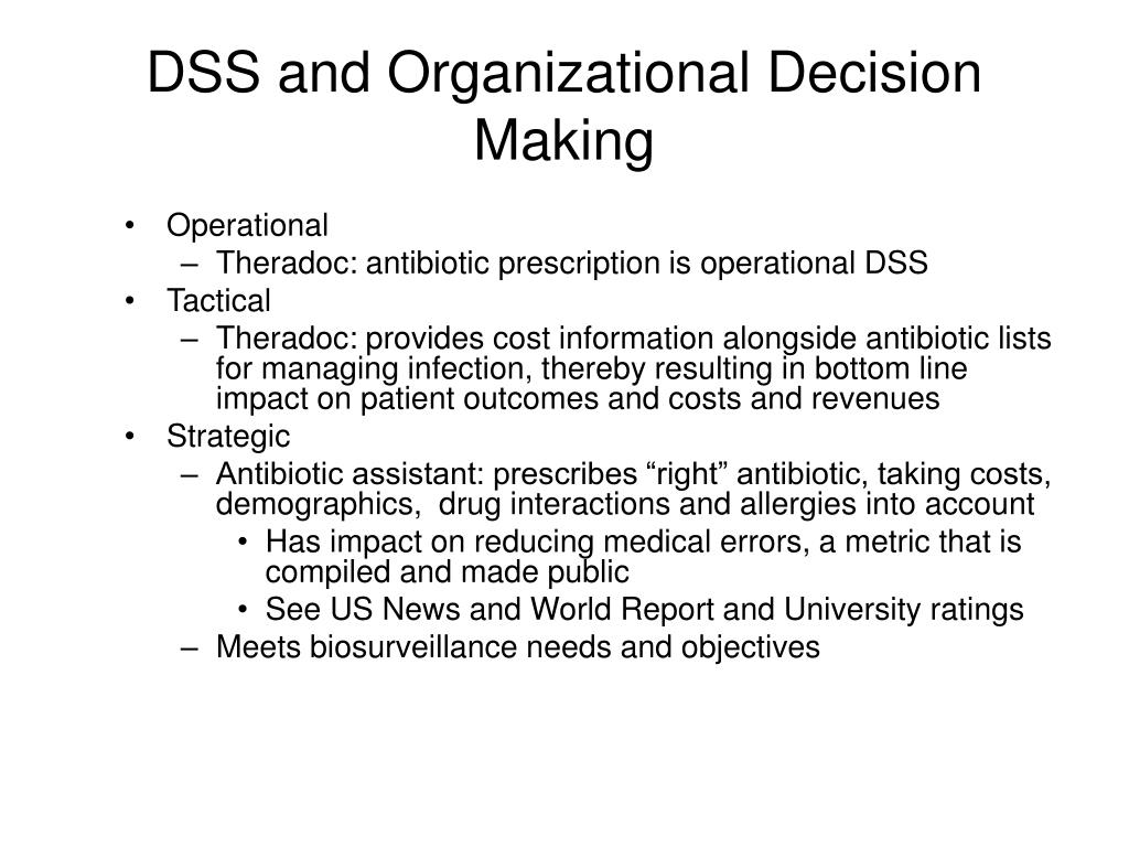 DSS and Organizational Decision Making
