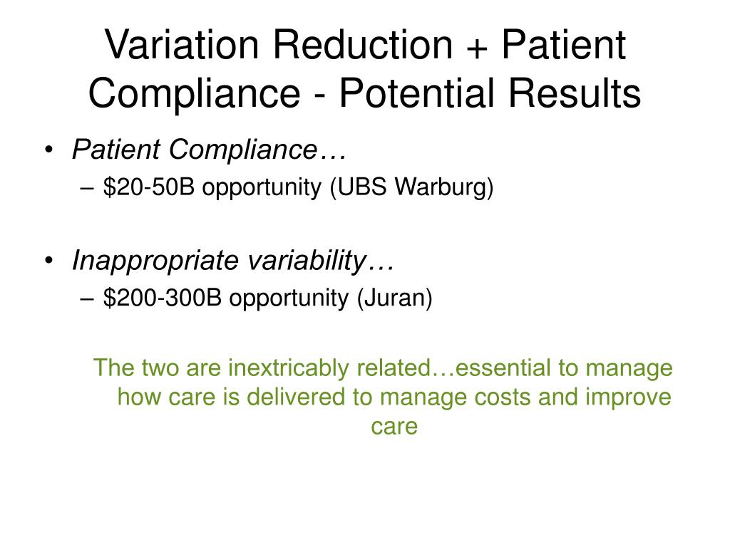 Variation Reduction + Patient Compliance - Potential Results