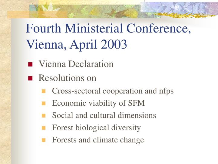 Fourth Ministerial Conference, Vienna, April 2003