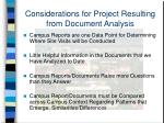 considerations for project resulting from document analysis