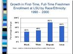 growth in first time full time freshmen enrollment at lsu by race ethnicity 1990 2000