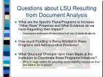 questions about lsu resulting from document analysis