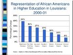 representation of african americans in higher education in louisiana 2000 01