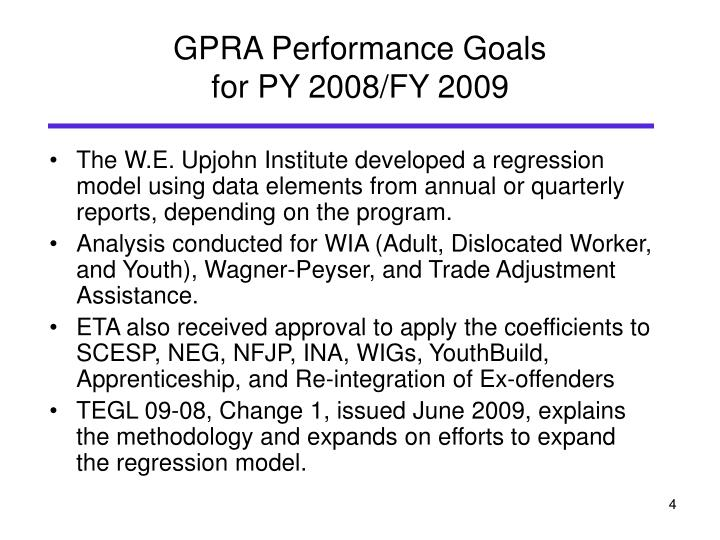 GPRA Performance Goals