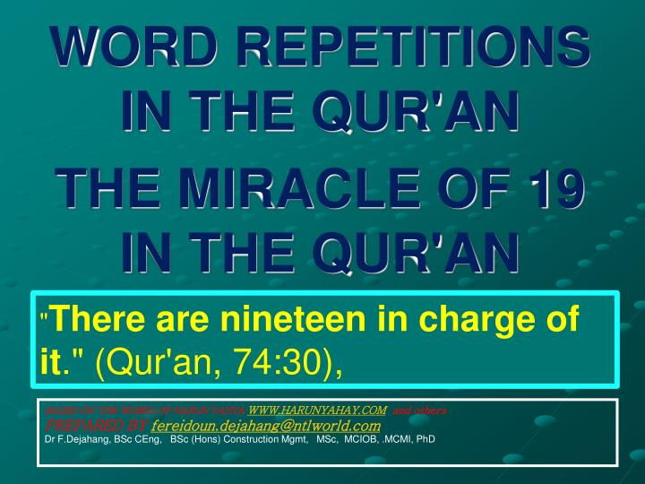 word repetitions in the qur an the miracle of 19 in the qur an n.