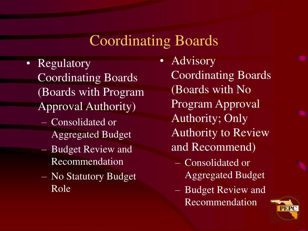 Regulatory Coordinating Boards (Boards with Program Approval Authority)