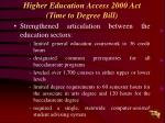 higher education access 2000 act time to degree bill