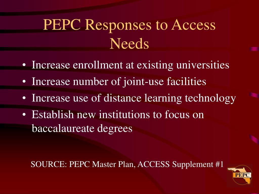 PEPC Responses to Access Needs