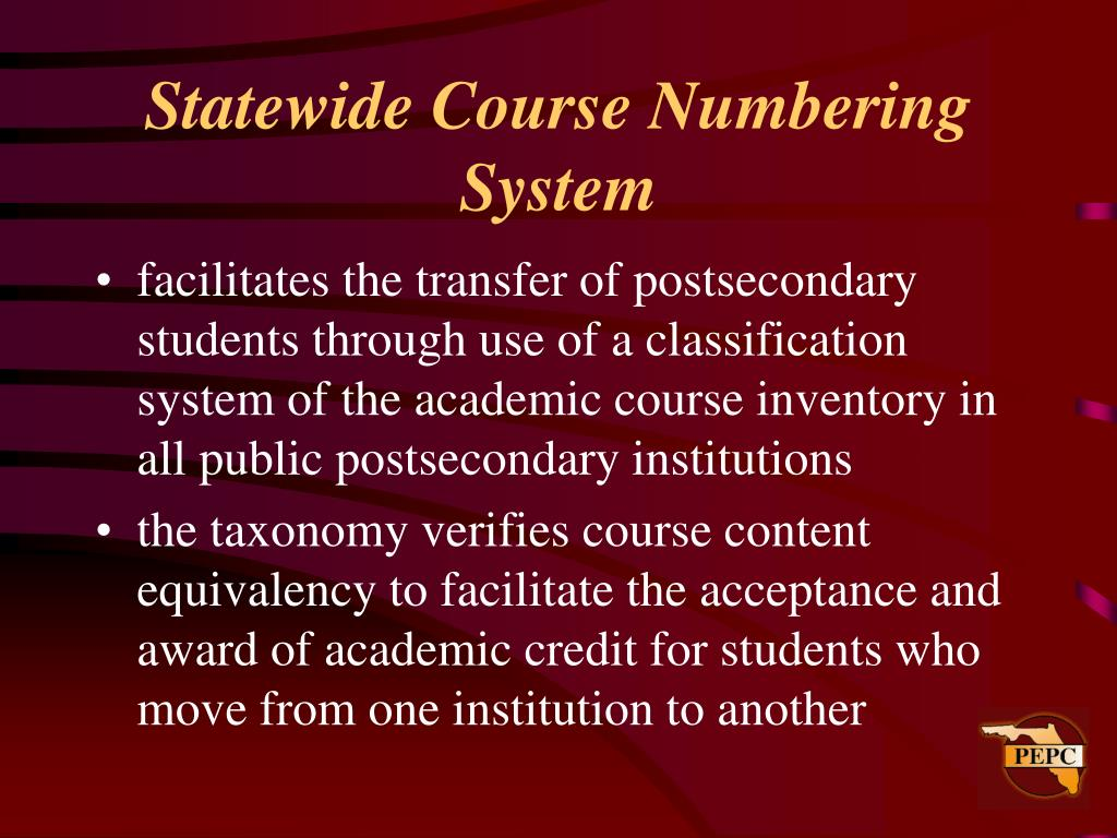 Statewide Course Numbering System