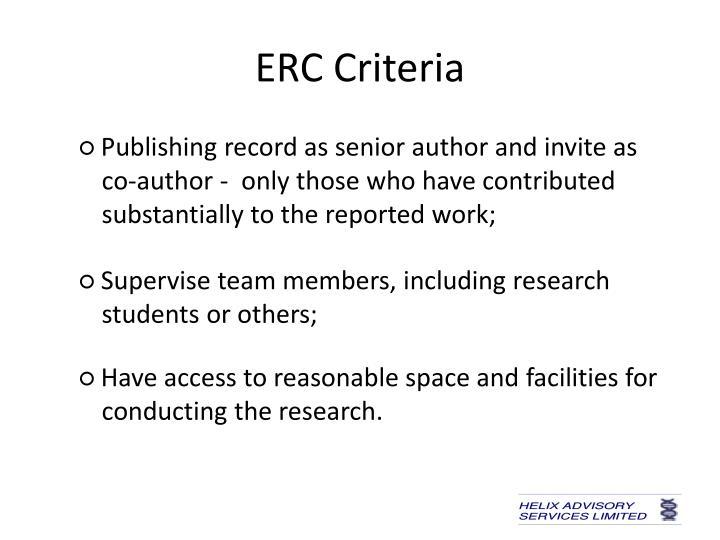 ERC Criteria