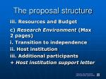 the proposal structure