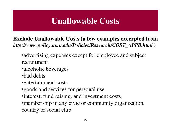 Unallowable Costs